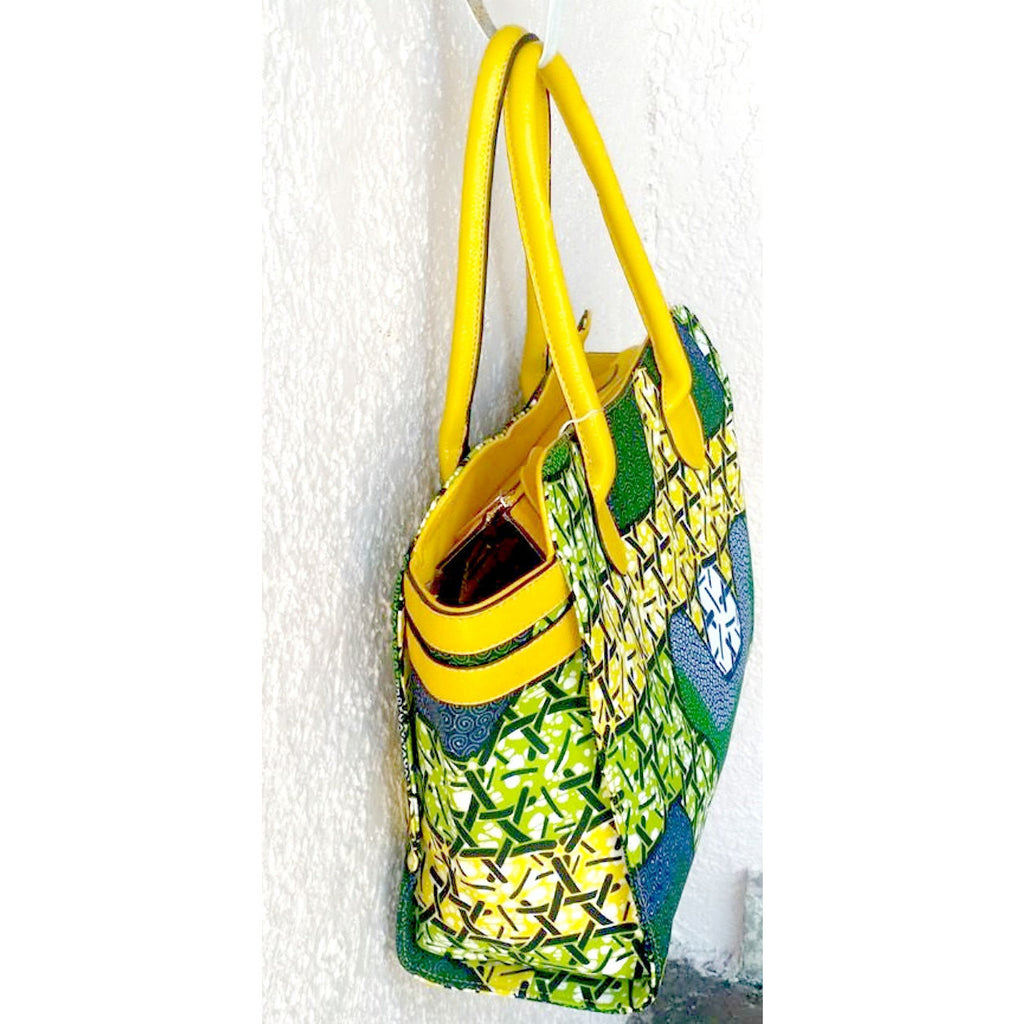 Green Top Handle African Wax Print Bag - Zabba Designs African Clothing Store