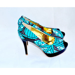 ERQE Blue African Print Peep Toe Shoe And Bag - Zabba Designs African Clothing Store