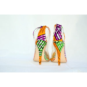 Orange African print Fabric Shoes - Zabba Designs African Clothing Store