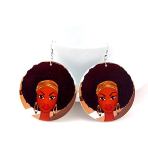 Afro Girl African Wood Earrings - Zabba Designs African Clothing Store