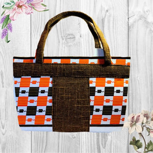 Jebbah Kente African print Tote and cosmetic bag - Zabba Designs African Clothing Store