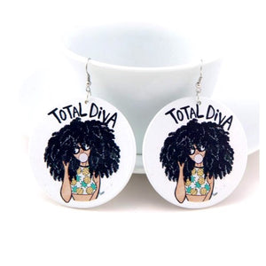 Total Diva Large Wood Earrings - Zabba Designs African Clothing Store