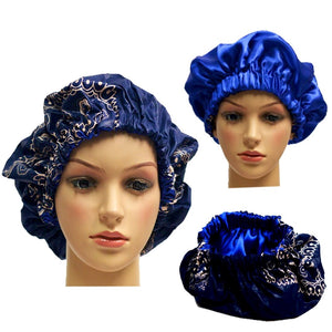 Navy Adult Ankara Bonnet - Zabba Designs African Clothing Store