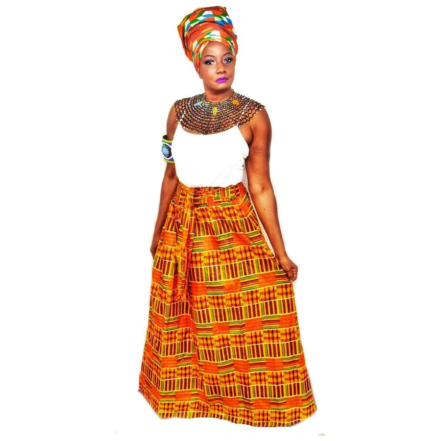Kente Print  Long Skirt ~ The GUIA - Zabba Designs African Clothing Store