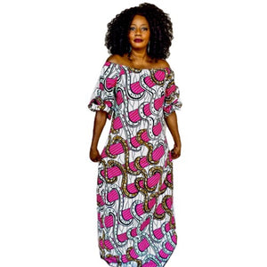 NIGHT GLOW African Print Balloon Maxi Dress