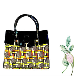MACI Brown African Fabric Tote Bag - Zabba Designs African Clothing Store