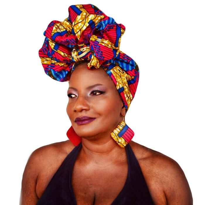 Fiery Red African Print Head Wrap - Zabba Designs African Clothing Store