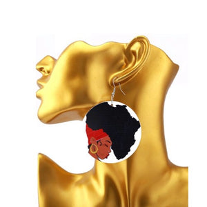 Jacque Afro Girl Map Of Africa Earrings - Zabba Designs African Clothing Store