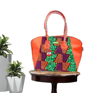 Peach African Print Designer Top Handle Hobo Bag Coral - Zabba Designs African Clothing Store