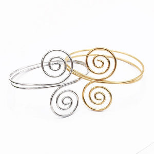 Retro Trend Silver Gold Metal Armlet Adjustable Double Open End Spiral Pattern Cuff Bangle - Zabba Designs African Clothing Store