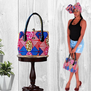 Red African Print Tote Bag - Zabba Designs African Clothing Store