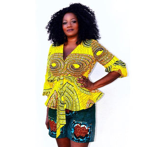 Tau African Print Shorts Set - Zabba Designs African Clothing Store
