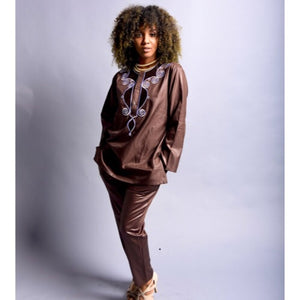 Tunis African Long Sleeve Tunic Tops and Long Pants Set