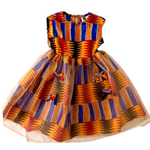 Tisha Kente African Print Traditional Tulle Girl's Dress - Zabba Designs African Clothing Store