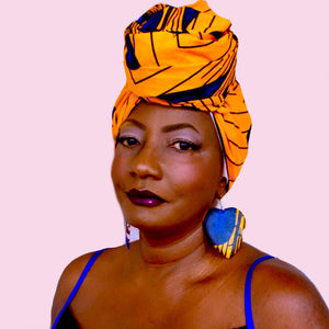 Zeke  Yellow African Print HeadWrap
