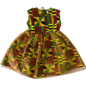Lucy African Kente Girls Traditional Cotton Dress - Zabba Designs African Clothing Store