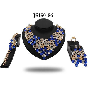 BLUE DEMI STONE PROM NECKLACE SET - Zabba Designs African Clothing Store