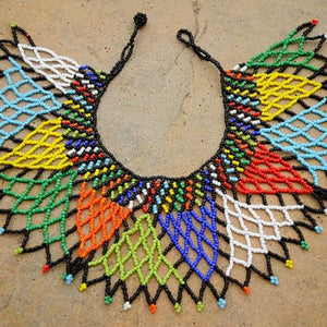 African Tribal Beaded Zulu Collar Necklace - Zabba Designs African Clothing Store