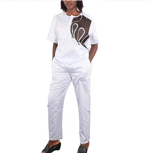 Alabi Women's African Print Short Sleeve Tunic Tops and Long Pants Set - Zabba Designs African Clothing Store