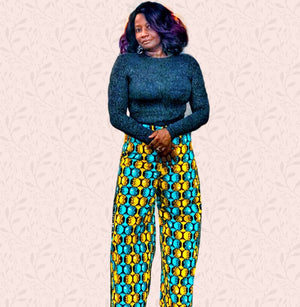 Roo High Waisted African Print Wide Leg Dress Pants - Zabba Designs African Clothing Store