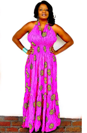 Pink And Yellow African Print Dress