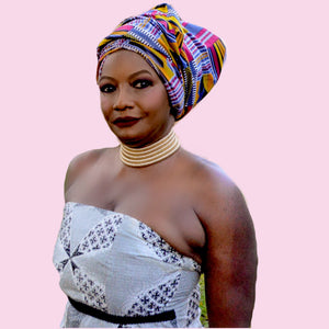 African Kente Print Headwrap ~  The donna forte - Zabba Designs African Clothing Store