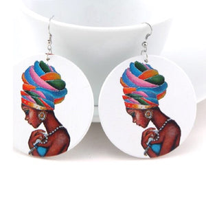 Natural Hair Woman Large Wood Earrings - Zabba Designs African Clothing Store