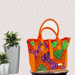Orange African Print Large Hobo Bag - Zabba Designs African Clothing Store
