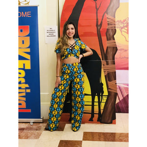 Legacy African Print Top And Wide Leg Pants Set - Zabba Designs African Clothing Store