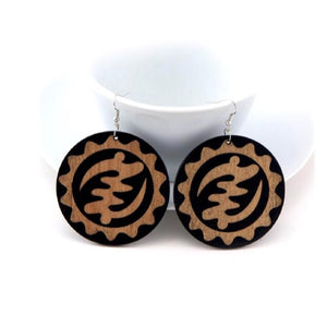 Ghanaian Adinkra Wood  Earrings - Zabba Designs African Clothing Store