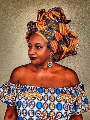 African  Print Head wrap The AKATA - Zabba Designs African Clothing Store