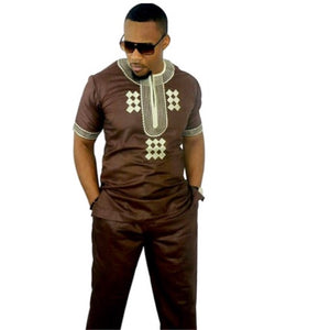 Chocolate Traditional African Print Men's Suit - Zabba Designs African Clothing Store
