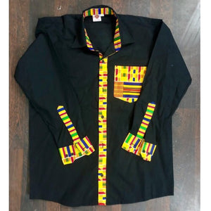 IFOWU Black And  Kente Print Long Sleeve Men's Shirt - Zabba Designs African Clothing Store