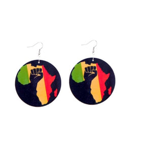 Large Red, Green And Yellow African Wood Earrings - Zabba Designs African Clothing Store