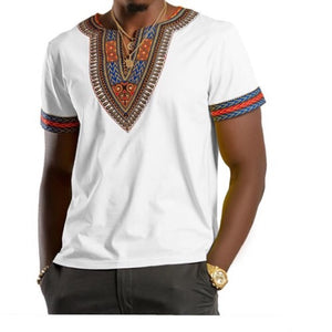 WHITE AFRICAN DASHIKI MEN'S SHIRT - Zabba Designs African Clothing Store