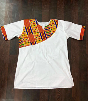 KOOFI SHORT SLEEVE AFRICAN KENTE PRINT MEN'S SHIRT - Zabba Designs African Clothing Store