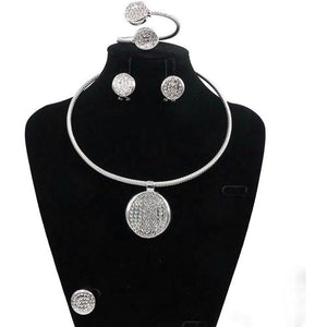 SILVER METAL ENAMEL LINE PENDANT NECKLACE SET - Zabba Designs African Clothing Store