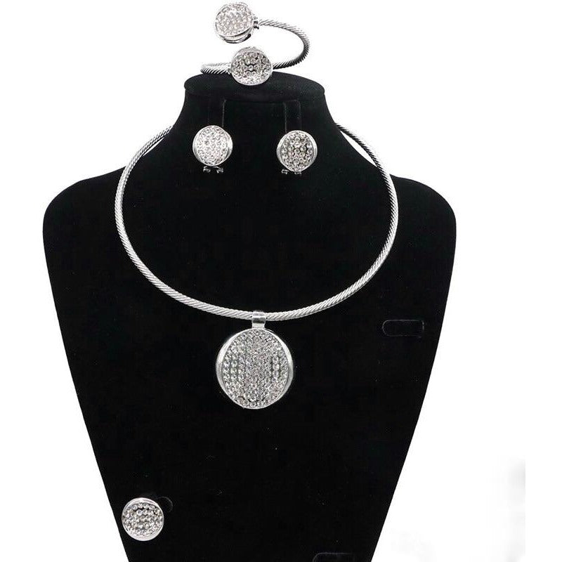 SILVER METAL ENAMEL LINE PENDANT NECKLACE SET