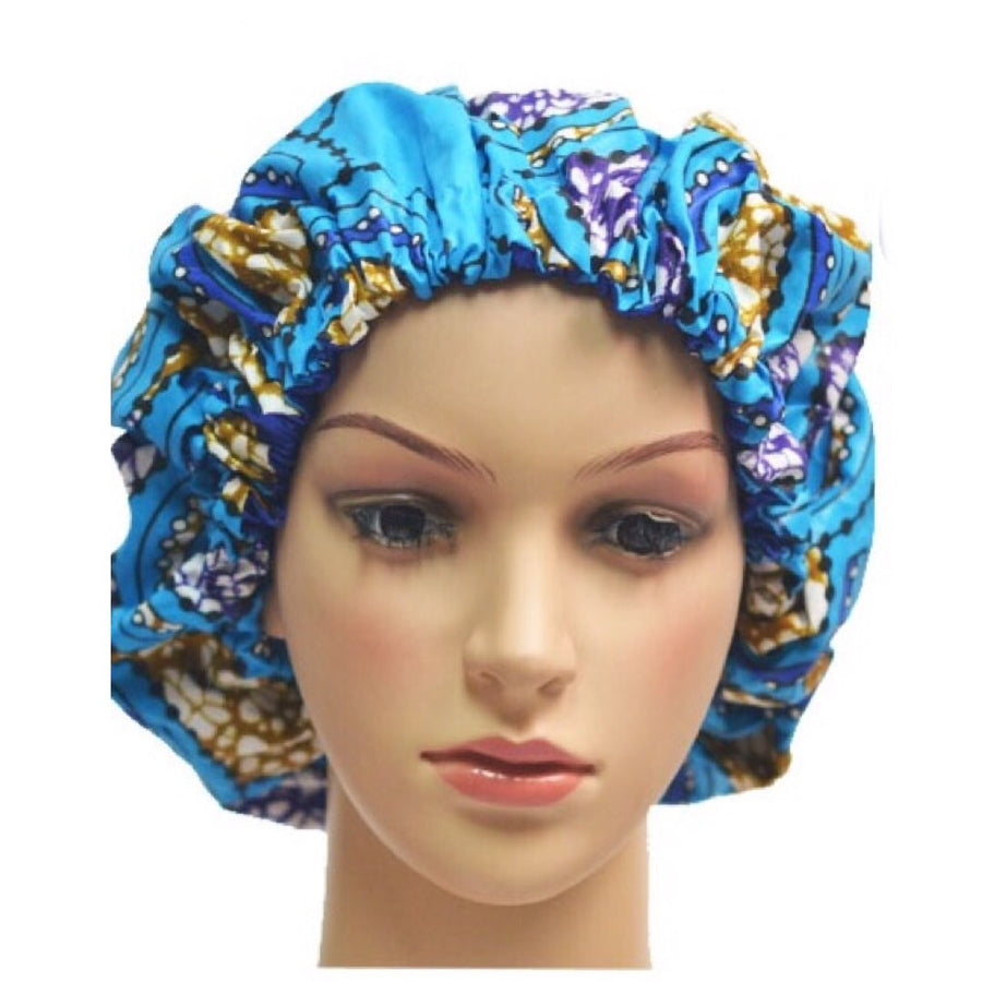 Blue African print Hair Bonnets - Zabba Designs African Clothing Store