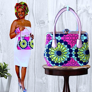 African Print Pink Top Handle Bag