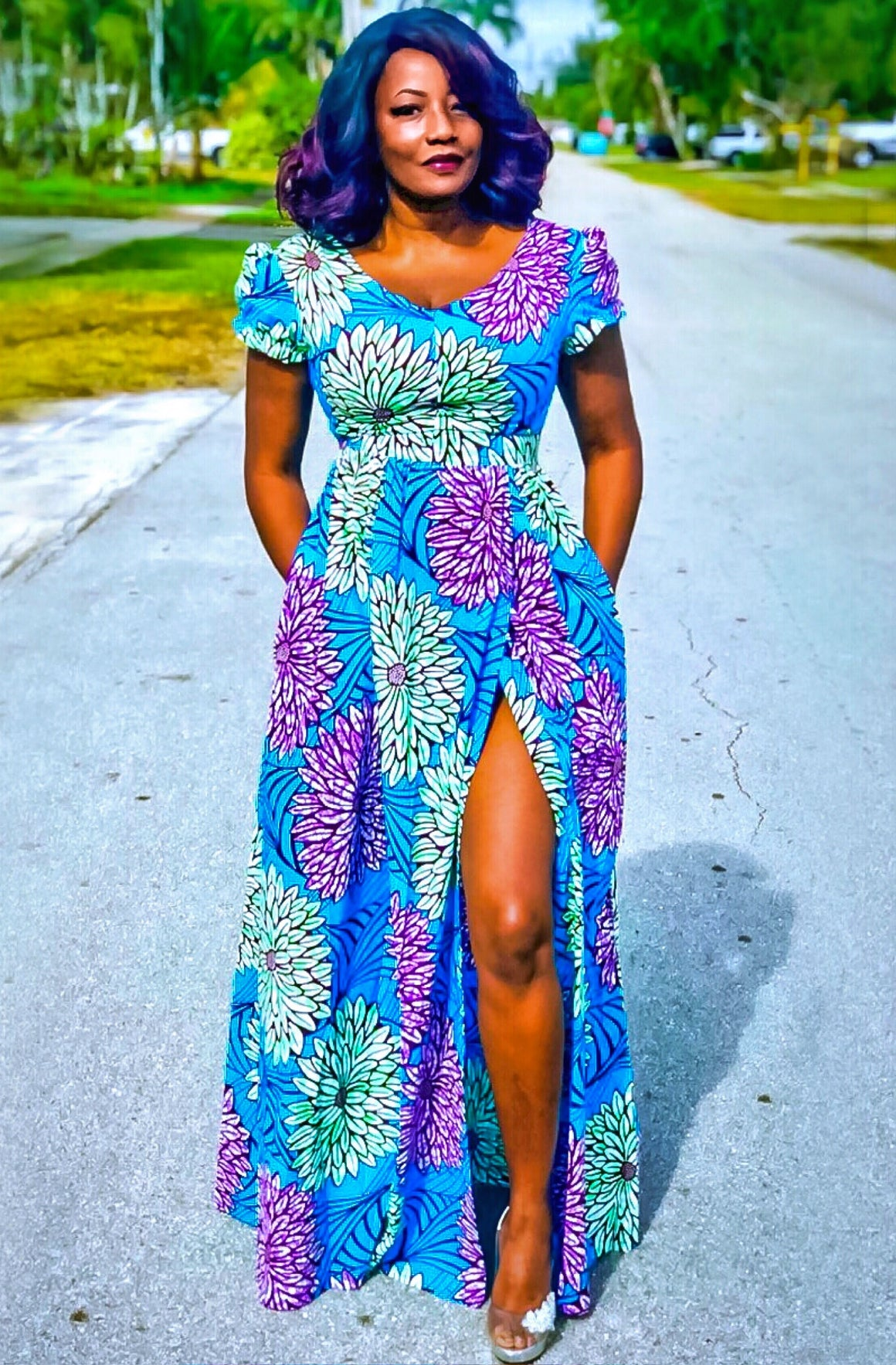 ISSA Blue African Print Maxi Dress - Zabba Designs African Clothing Store