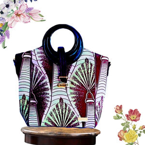 Burgundy Designer African Print Top Handle Handbag - Zabba Designs African Clothing Store