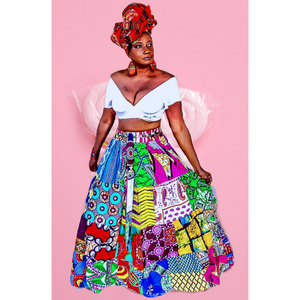 Fatima  African Patchwork Maxi Skirt - Zabba Designs African Clothing Store