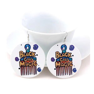 Afro Pick Wooden Earrings - Zabba Designs African Clothing Store