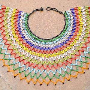 African Tribal Bohemian Beaded Bib Collar Necklace - Zabba Designs African Clothing Store