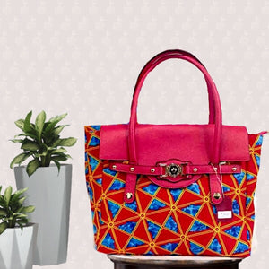 Yuva African Print Pink Top Handle Bag - Zabba Designs African Clothing Store