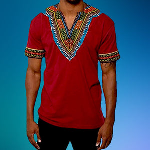 RED AFRICAN DASHIKI MEN'S SHIRT - Zabba Designs African Clothing Store