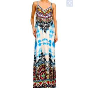 Ashley Tie Dye Maxi Dress - Zabba Designs African Clothing Store