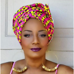 PEONY African Print Head Wrap - Zabba Designs African Clothing Store