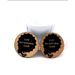 Luv My Natural Hair African Wood Earrings - Zabba Designs African Clothing Store